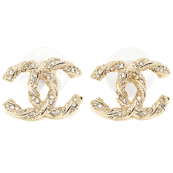 Chanel earrings CHANEL A63057 Y02003 CC mark gold / clear