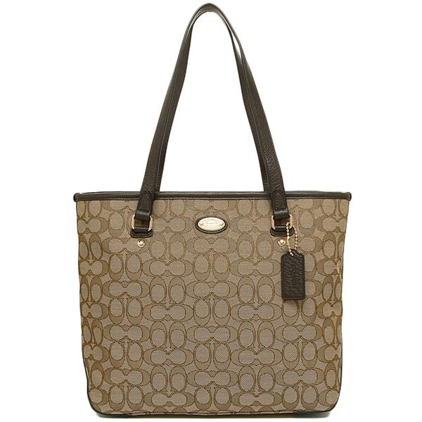 Coach bags outlet COACH F36185 IMC7C luxury signature zip top tote bag khaki / Brown