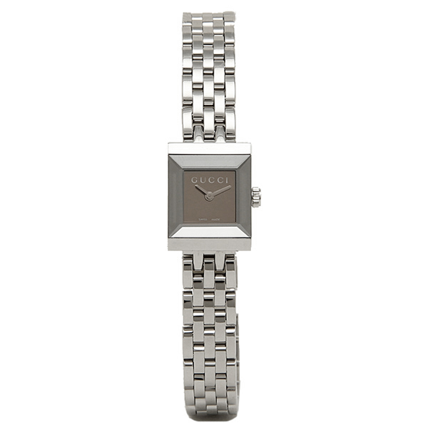 GUCCI Gucci YA128501 square version G frame collection watches ladies Watch Silver / mirrored dial Brown / silver