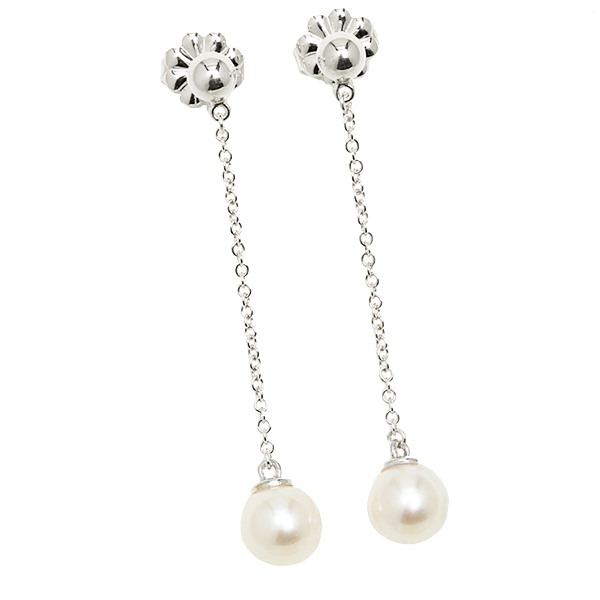Tiffany Ziegfeld Pearl Drop Earrings Earrings In Sterling