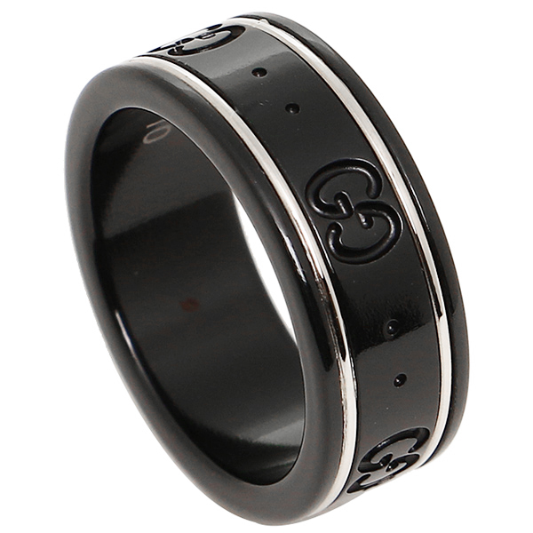 GUCCI グッチ 指輪 リング GGアイコン リング アクセサリー/指輪 225985 I19A1 8061 K18ホワイトゴールド/コランダム ブラック レディース/メンズ 男女兼用