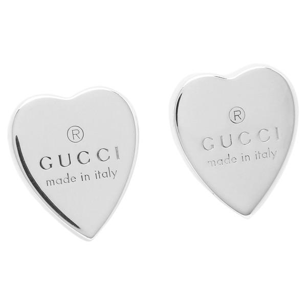 dfa850d51e8 GUCCI Gucci 223990 J8400 8106 GUCCI trademark engraved heart motif earrings  GUCCI TRADEMARK HEART MOTIF PIERCE silver