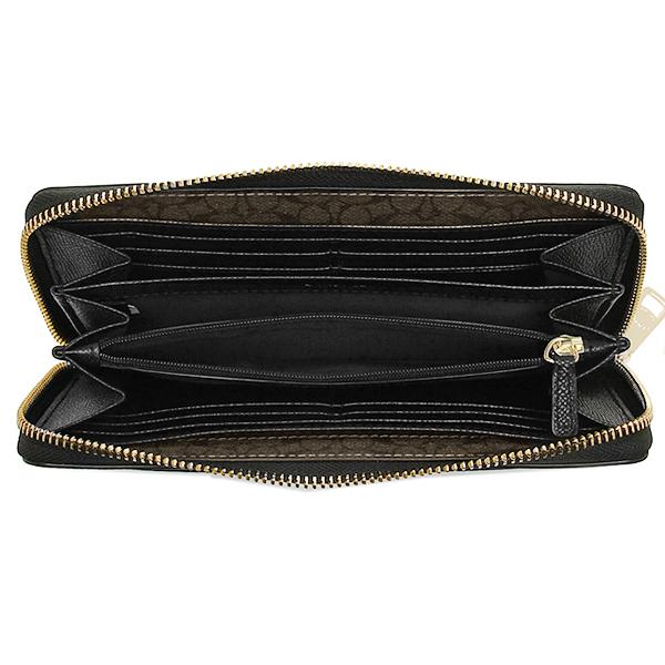 Coach purse outlet COACH F52648 IMBLK cross grain leather zip around wallet black