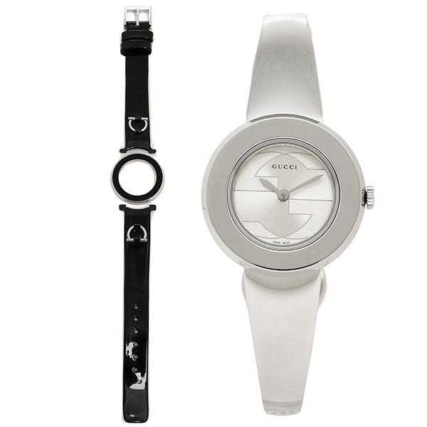 GUCCI グッチ YA129502 スモール バージョン Uプレイ コレクション腕時計 (替えベゼル/ベルト付き)パテントレザー/ブラック レディースウォッチ シルバー/シルバー