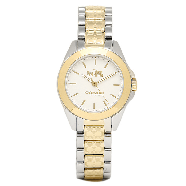 COACH コーチ 時計 レディース 14502186 TRISTEN MINI トリステンミニブレスレット 腕時計 ウォッチ シルバー/イエローゴールド