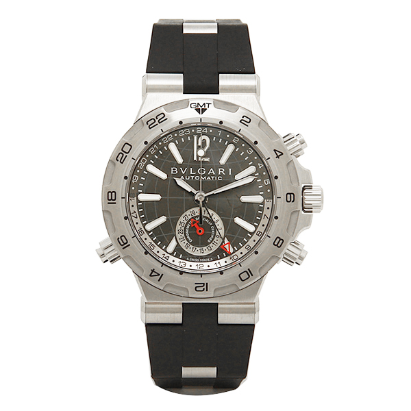 ブルガリ 時計 メンズ BVLGARI DP42C14SVDGMT ディアゴノプロフェッショナル スクーバ 自動巻き 腕時計 ウォッチ ブラック/シルバー