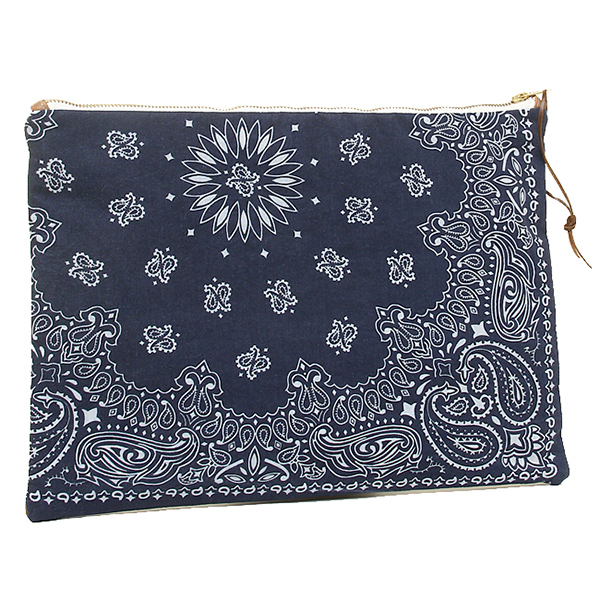 DOUBLE SHOT ダブルショット バッグ DS0014-CL-NVBR LEATHER BANDANA CLUTCH クラッチバッグ NAVY/BROWN