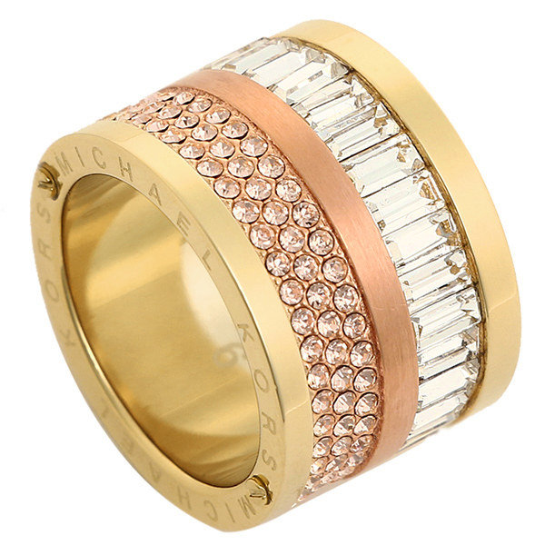 Michael Course Ring Women S Kors Mkj1907931 Pave Two Tone Barrel Gold