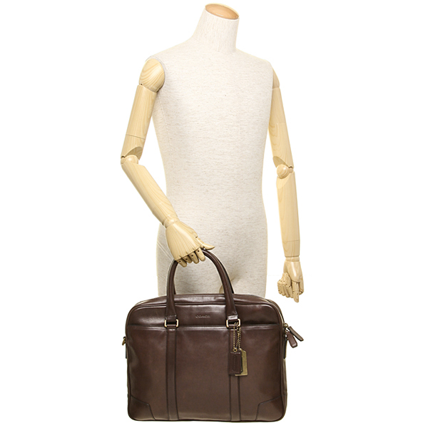 Coach bags men's COACH 70901 B4/MA Bleecker slim b leaf Briefcase / bag brass / mahogany