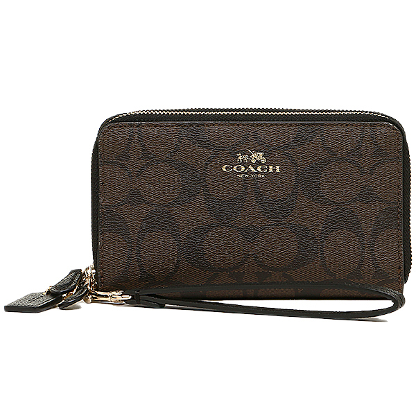Coach purse outlet COACH F53564 IMAA8 signature double zip phone wallet purse brown / black