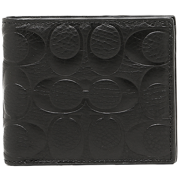 Coach purse outlet men's COACH F74992 BLK signature embossed leather compact ID wallet 2 fold wallet black