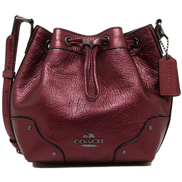21d721ccc3 ... france coach bags outlet coach f35363 qbe42 baby mickey drawstring  shoulder bag metallic cherry 40396 3a69f