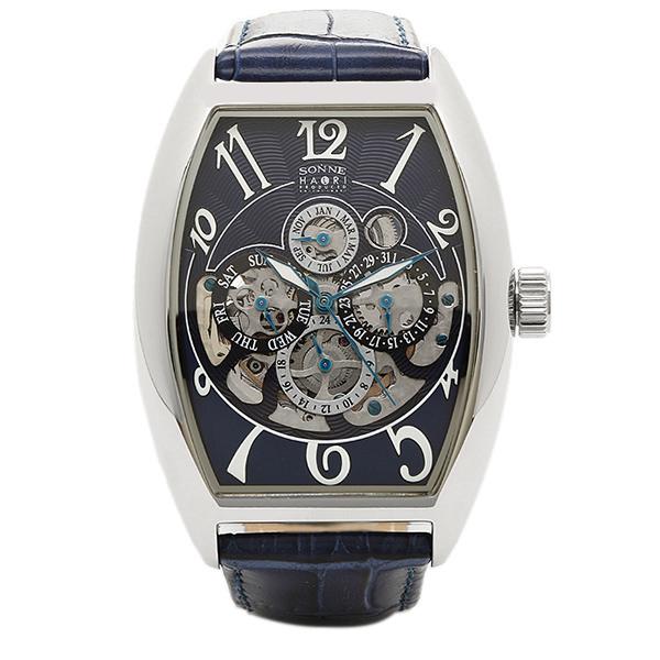 SONNE ゾンネ 時計 メンズ H015SS-NV HAORI ハオリ 自動巻き 腕時計 ウォッチ シルバー/ネイビー