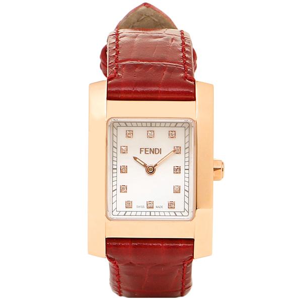 FENDI 時計 レディース フェンディ F704247D CLASSICO クラシコ 腕時計 ウォッチ ホワイトパール/レッド/ゴールド