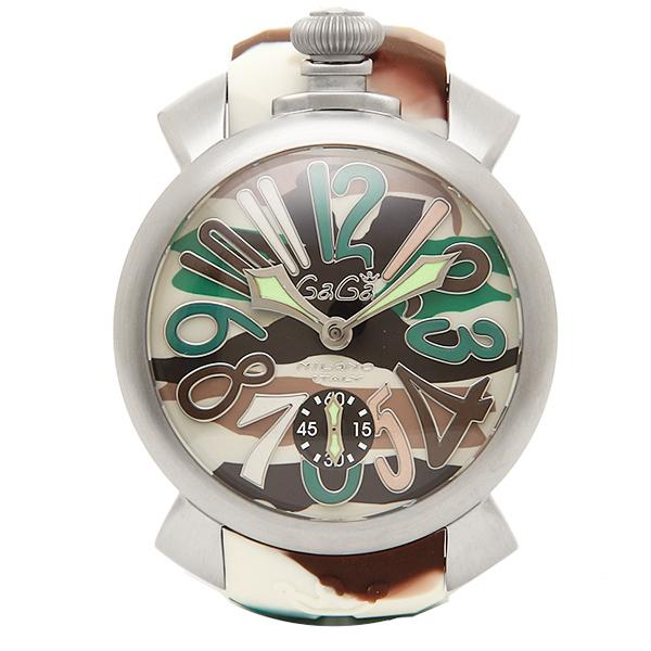 ガガミラノ 時計 メンズ GAGA MILANO 5010.18S MANUALE マヌアーレ 48MM スイス製 手巻き 腕時計 ウォッチ シルバー/グリーン