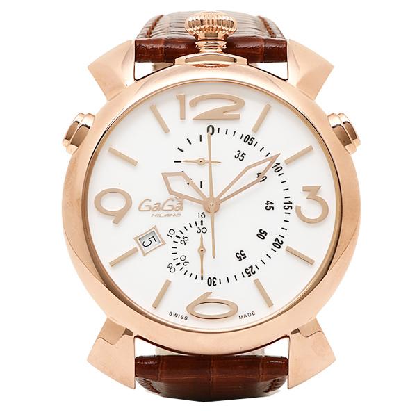 ガガミラノ 時計 メンズ GAGA MILANO 5098.01BW THINCHRONO シンクロノ 46MM 腕時計 ウォッチ ブラウン/ゴールド/ホワイト