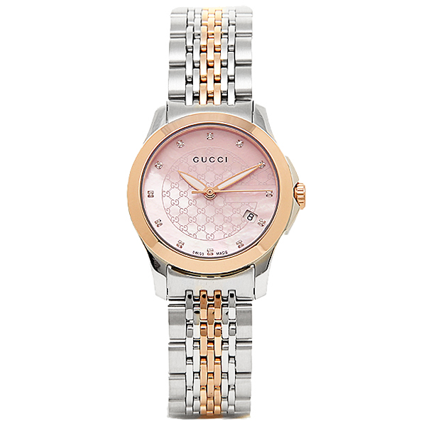 GUCCI clock Lady\u0027s Gucci YA126538 G thymeless watch watch silver / gold /  pink pearl