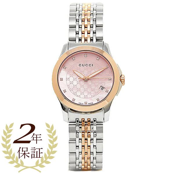 GUCCI clock Lady\u0027s Gucci YA126538 G thymeless watch watch silver / gold /  pink pearl