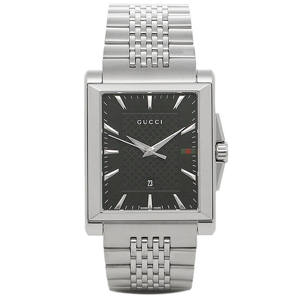 GUCCI 時計 メンズ グッチ YA138401 G-タイムレス レクタングル 腕時計 ウォッチ シルバー/ブラック