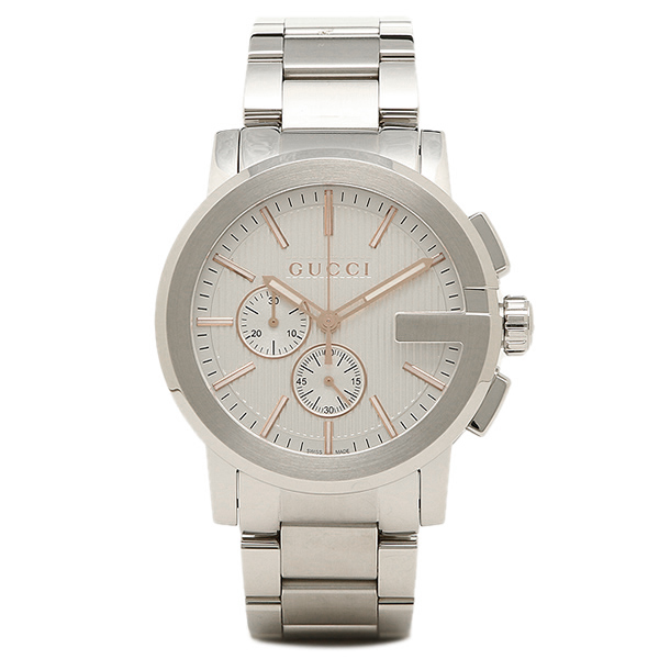 GUCCI 時計 メンズ グッチ YA101201 Gクロノ 腕時計 ウォッチ ホワイト/シルバー