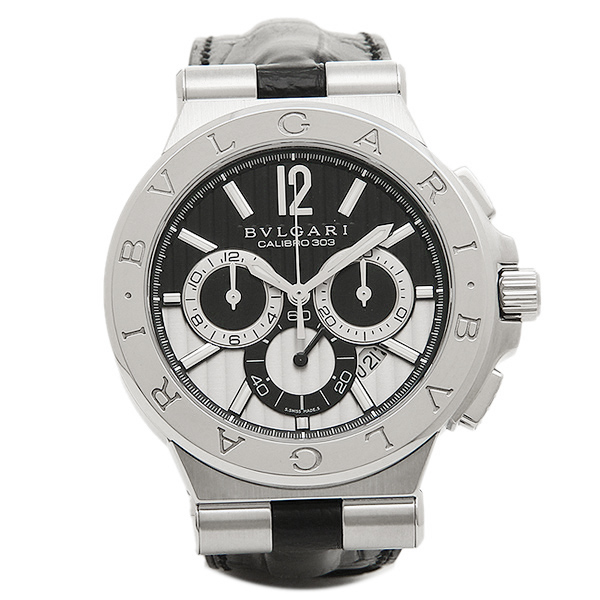 BVLGARI 時計 メンズ ブルガリ DG42BSLDCH ディアゴノ カリブ303 クロノグラフ 腕時計 ウォッチ シルバー/ブラック