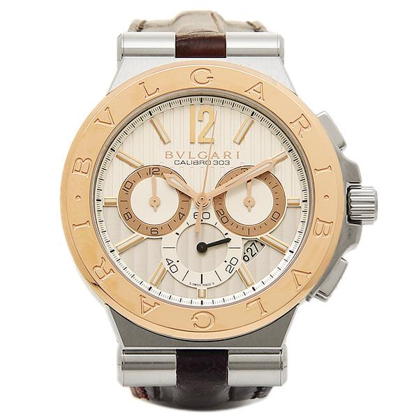 BVLGARI 時計 メンズ ブルガリ DG42C6SPGLDCH ディアゴノ カリブ303 クロノグラフ 腕時計 ウォッチ ホワイト/ピンクゴールド/ブラウン