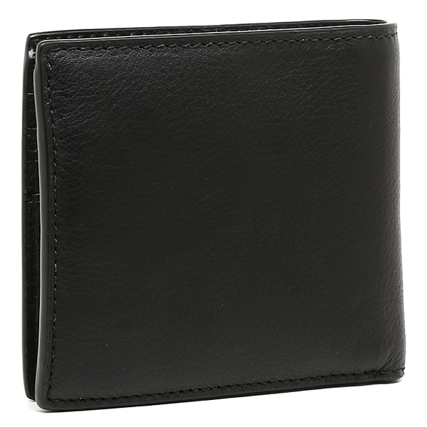 Coach Foundation fabric outlet COACH F75003 BLK calf leather coin wallet 2 fold wallet black
