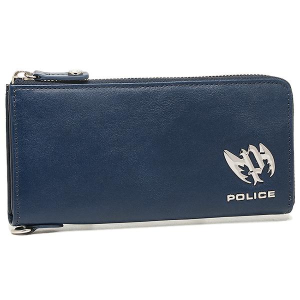 POLICE ポリス 財布 PLC122 ブローチ メンズ 長財布 BLUE