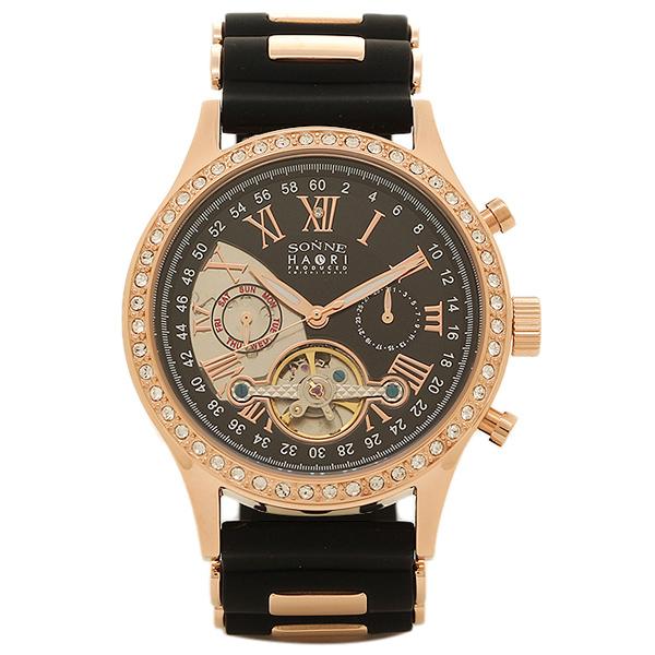SONNE ゾンネ 時計 H016PGZ BK ハオリ HAORI 自動巻き メンズ腕時計 ウォッチ ブラック/ピンクゴールド