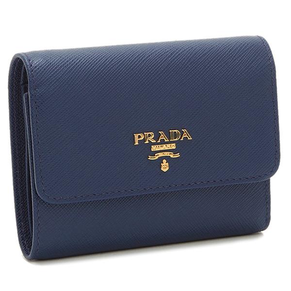 PRADA プラダ 折り財布 レディース 1MH840 QWA F0016 ブルー
