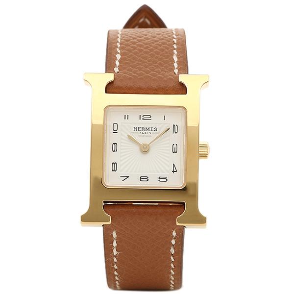 エルメス 腕時計 レディース HERMES HH1.201.131/UGO W036732WW00 Hウォッチ ブラウン ホワイト イエローゴールド