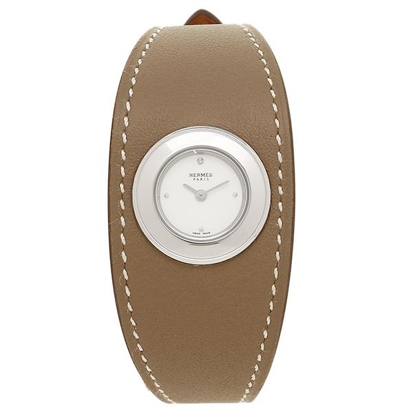 HERMES 時計 レディース エルメス W041886WW00 FG2.110.113/WW18 トープブラウン/シルバー/ホワイト