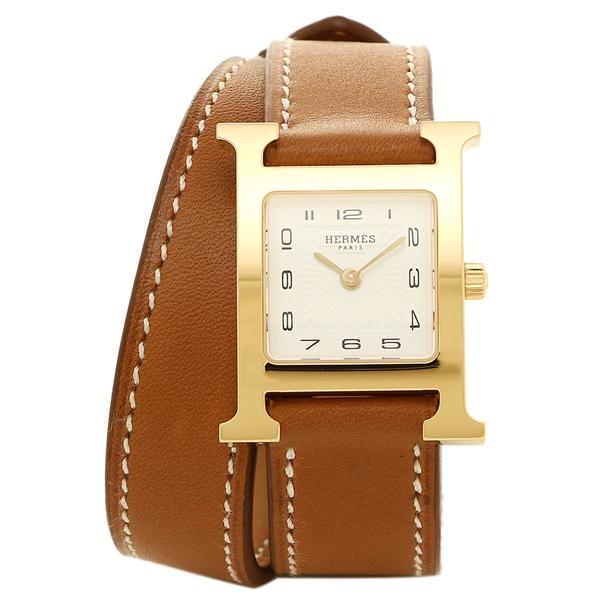 HERMES 腕時計 レディース エルメス 036737WW00 HH1.201.131/VBA1 ブラウン ホワイト イエローゴールド