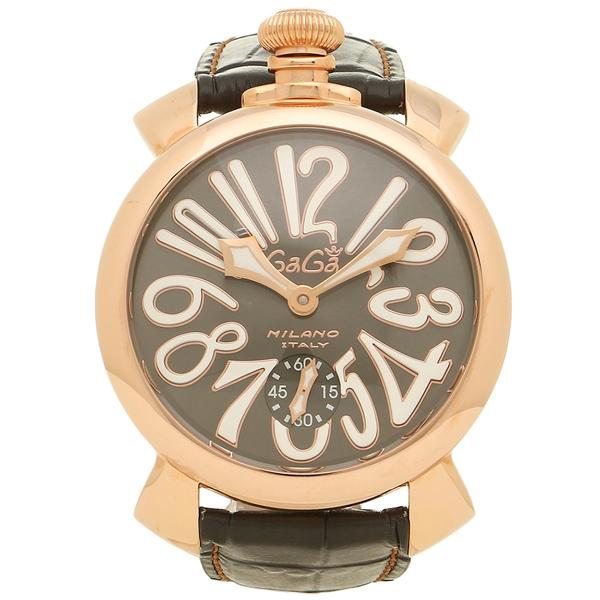GAGA MILANO ガガミラノ 腕時計 メンズ 5011.07S GRY ブラック イエローゴールド