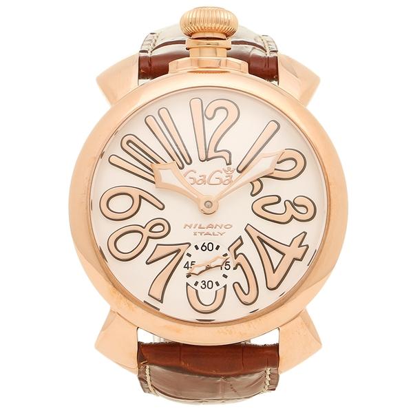 GAGA MILANO ガガミラノ 腕時計 メンズ 5011.08S BRW ブラウン ホワイト イエローゴールド