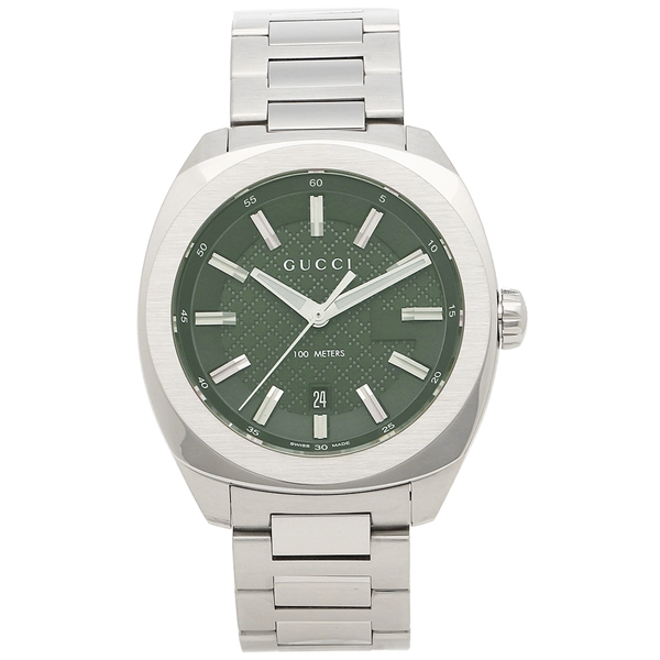 GUCCI 腕時計 メンズ グッチ YA142313 シルバー グリーン