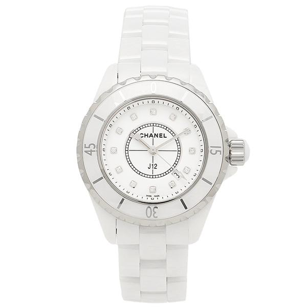 シャネル 腕時計 CHANEL J12 H1628 33MM 12Pダイヤモンド ホワイトセラミック レディースウォッチシリアル有