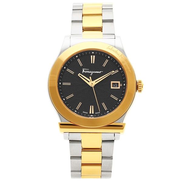 F62LBQ9509S095-H メンズ シルバー フェラガモ Salvatore イエローゴールド Ferragamo 腕時計