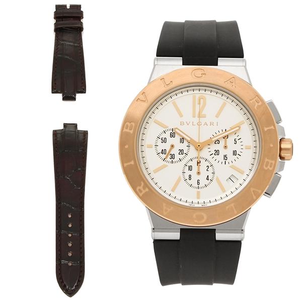 BVLGARI 腕時計 メンズ ブルガリ DG41WSPGVDCH-SET-BRW ブラック シルバー ローズゴールド