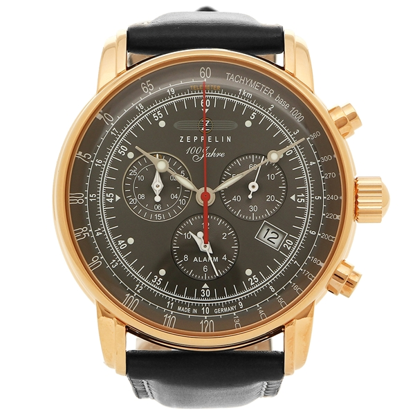 ZEPPELIN 腕時計 メンズ ツェッペリン 8682-2 ブラック グレー ローズゴールド