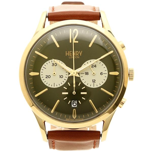 HENRY LONDON 腕時計 メンズ ヘンリーロンドン HL41-CS-0190 ブラウン グリーン イエローゴールド