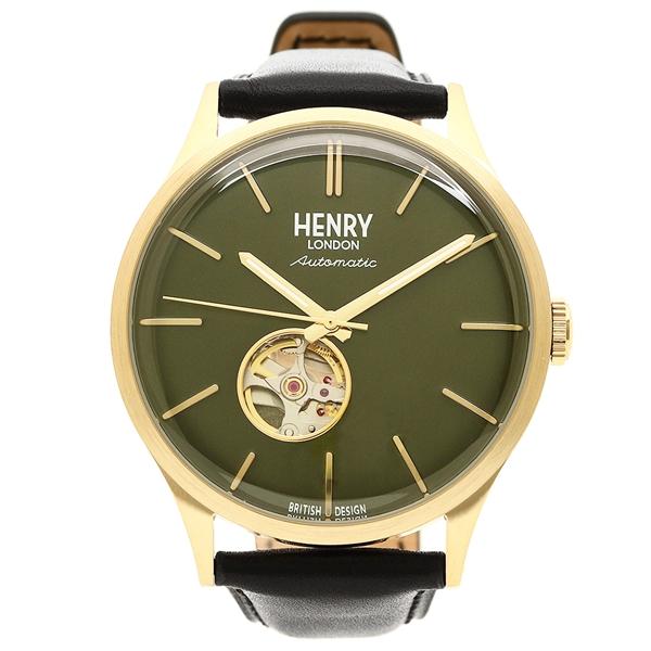 メンズ ヘンリーロンドン ブラック HL42-AS-0282 LONDON イエローゴールド 腕時計 グリーン HENRY