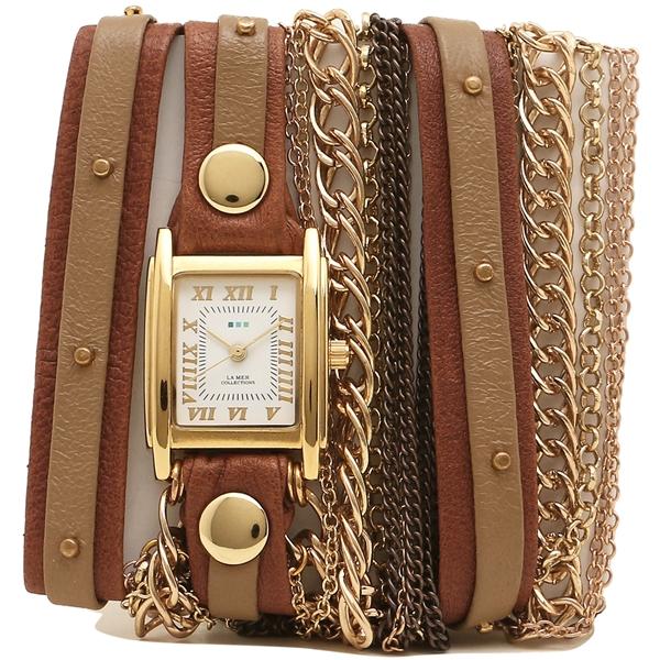 LA MER COLLECTIONS 腕時計 レディース ラメール コレクションズ LMDUOSTUD002 ブラウン ゴールド ホワイト