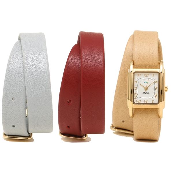 LA MER COLLECTIONS 腕時計 レディース ラメール コレクションズ LMGBUENI001 ライトブラウン レッド グレー ゴールド ホワイト