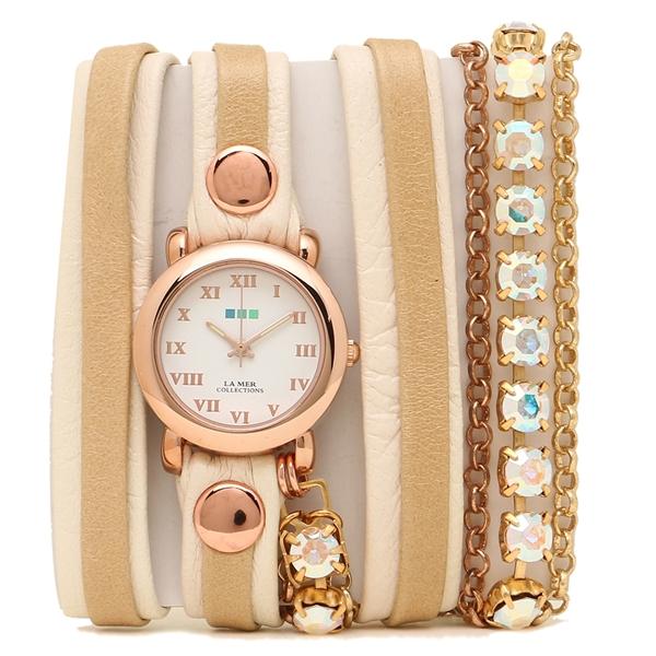 LA MER COLLECTIONS 腕時計 レディース ラメール コレクションズ LMMULTI5002RAIN ライトブラウン ゴールド ホワイト