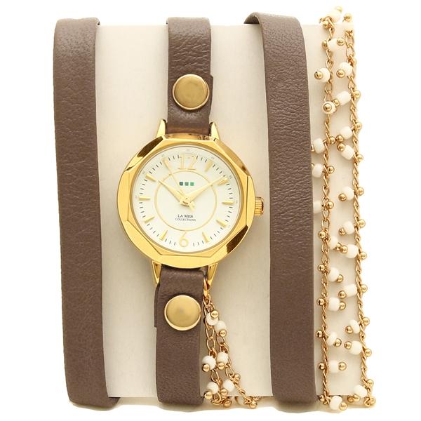LA MER COLLECTIONS 腕時計 レディース ラメール コレクションズ MILANACAP3404 ダークブラウン ゴールド ホワイト