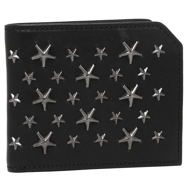 JIMMY CHOO 二つ折り財布 メンズ ジミーチュウ ALBANY BLACK GUNMETAL ブラック ガンメタル