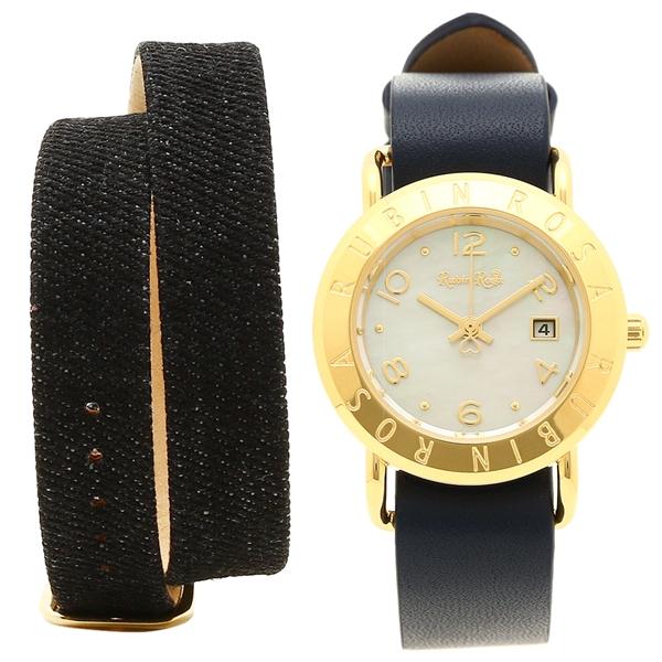 Rubin Rosa 腕時計 レディース 替えベルト付き ルビンローザ R601GWHNV ホワイト イエローゴールド ネイビー