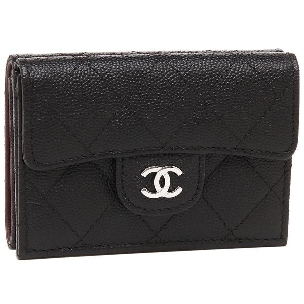CHANEL 折財布 レディース シャネル A84401 Y33129 C3906 ブラック シルバー