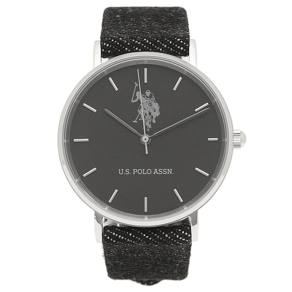 US POLO ASSN 腕時計 メンズ レディース ユーエス ポロ US-1D-BK ブラック シルバー